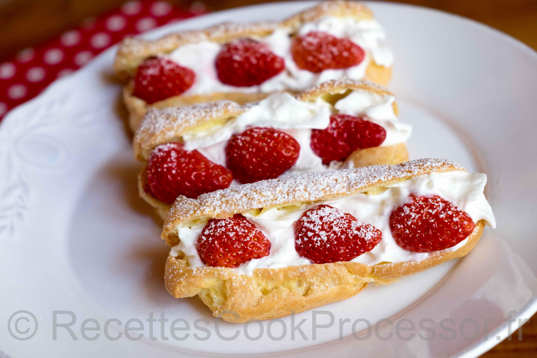 Eclairs chantilly fraises au Cook Processor